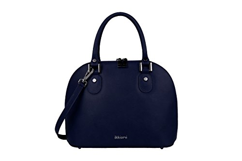 ikkiomi Domed satchel La.0906 Chrome Leather Pure Color yellow hand Bag Blue