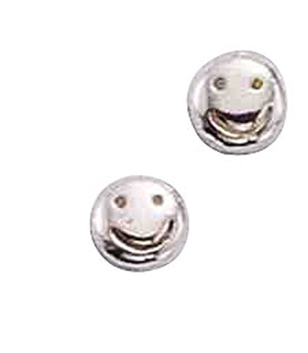 - Sterling Silver Solid Smiley Face Post Stud Earrings