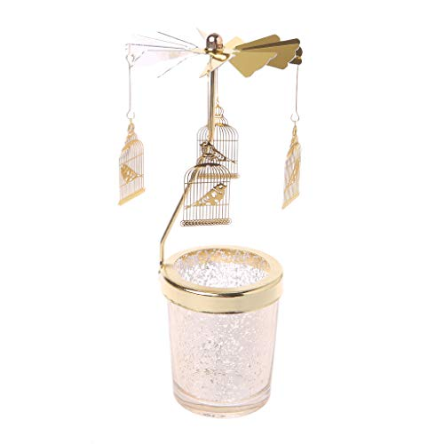 (Lukalook Xmas Rotating Spinning Carousel Tea Light Candle Holder Center Home Decor Gifts)