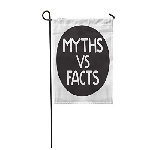 Semtomn Garden Flag 28x40 Inches Print On Two Side Polyester Character Myths Vs Facts Speech Bubble on White Deceit Deception Destroy Home Yard Farm Fade Resistant Outdoor House Decor -
