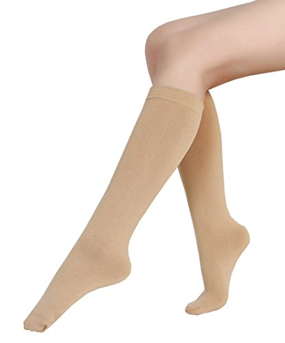 - 6 Pairs Women's Opaque Plush Fleece Lined Trouser Socks Knee High Stocking (beige)