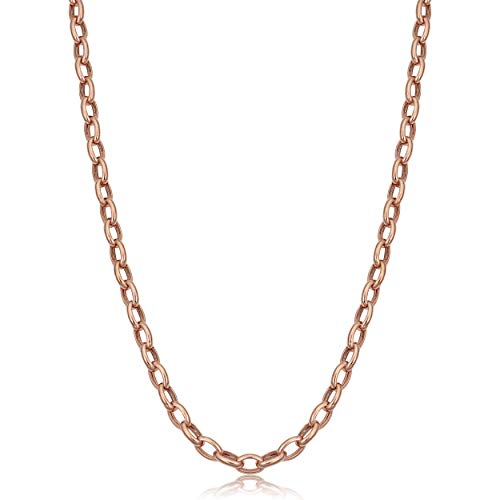 Oval Rolo Link Necklace - 14k Rose Gold Hollow Rolo Link Chain Necklace (4.6 mm, 32 inch)
