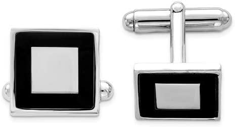 Italian Rhodium-Plated Sterling Silver and Black Enamel Square Cuff Links 15MM