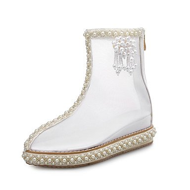 Net CN41 Shoes Party Boots Spring Fashion RTRY Low Women'S Fall Evening Shoes Dress Pearl For Comfort EU40 Beading Heel White Boots amp;Amp; US9 Transparent UK7 wFSEx