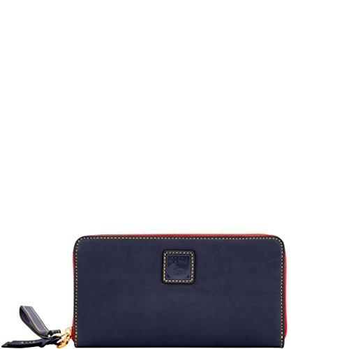 Dooney Zip Wallet Bourke Around (Dooney & Bourke Florentine Large Zip Around Wallet/ Wristlet Navy)