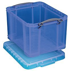 Really Useful Box(R) Plastic Storage Box, 32 liters, 12in.H x 14in.W x 19in.D, Blue Really Useful Boxes