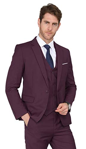 MAGE MALE Men's 3 Pieces Suit Elegant Solid One Button Slim Fit Single Breasted Party Blazer Vest Pants Set (XL, Dark Red)