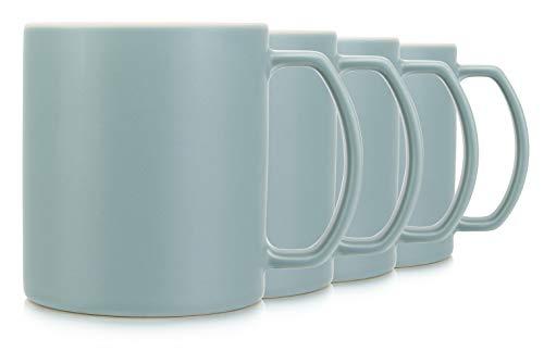 18oz Celadon Green Coffee and Tea Mugs. Lightweight and Professional Stoneware, Set of 4 by Serami