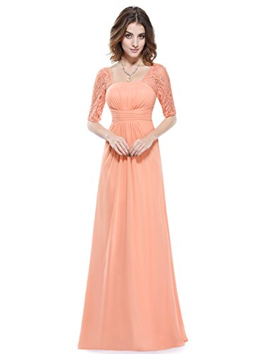 Half Sleeve Floor - Ever-Pretty Womens Long Sleeve Floor Length Chiffon Evening Dress 12 US Peach