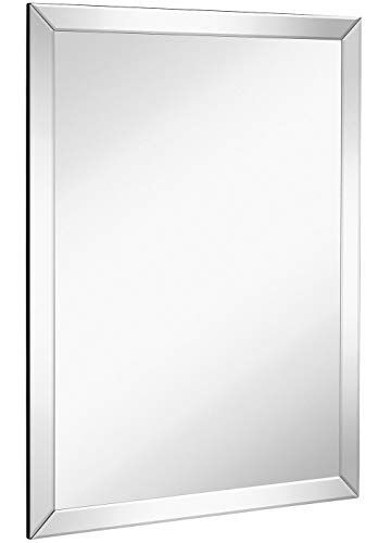 "Large Flat Framed Wall Mirror with 2 Inch Edge Beveled Mirror Frame | Premium Silver Backed Glass Panel | Vanity, Bedroom, or Bathroom | Mirrored Rectangle Hangs Horizontal or Vertical (30"" x 40"")"