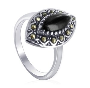 Gem Avenue 925 Sterling Silver Marquise Shape Simulated Onyx Ring Size 5 with Marcasite