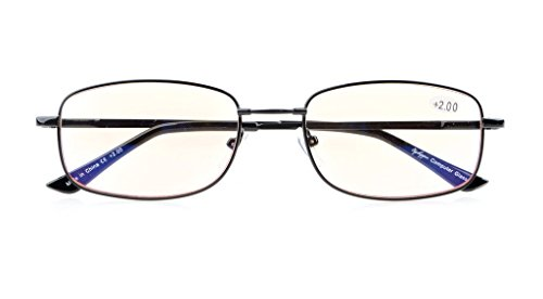 Anti Blue Rays,Reduce Eyestrain,UV Protection,Memory Bridge,Titanium,Computer Reading Gaming Glasses Unisex