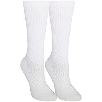 NuVein Compression Socks Mid Calf Crew Length 15-20 mmHg Graduated Support Cushion Foot, White, Medium