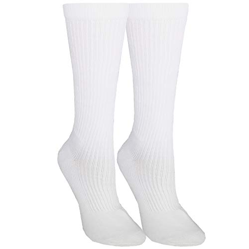 NuVein Compression Socks Mid Calf Crew Length 15-20 mmHg Graduated Support Cushion Foot, White, Large