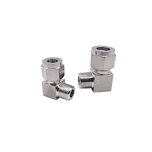 Metalwork 304 Stainless Steel Compression Tube Fitting, 90 Degree Male Elbow, 3/8'' NPT Male x 12mm OD (5 Pcs) by Metalwork