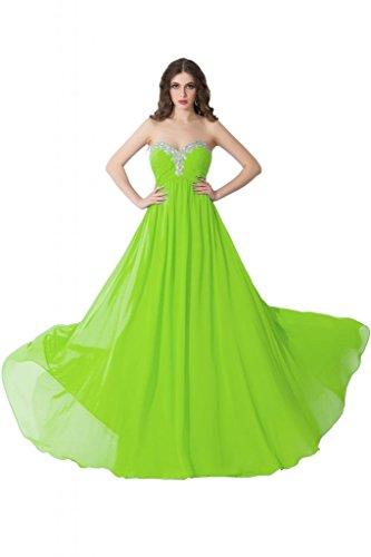 sunvary Crystal de volantes para el hombro One de gasa dama de honor vestidos de para mujer lime green