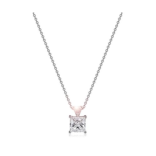 Sterling Silver Princess Cut 9mm Solitaire Swarovski Zirconia Pendant Necklace -Timeless Elegance Gift for Mom Daughter Wife Sister Best Friend Girl Friend Aunt Nana for Birthday Anniversary - Macy's Square Emerald