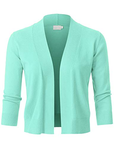 Quarter Sleeve Wrap - JSCEND Womens Classic 3/4 Sleeve Open Front Cropped Bolero Cardigan Mint S