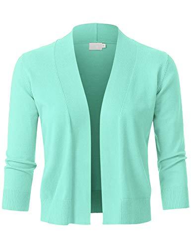 (JSCEND Womens Classic 3/4 Sleeve Open Front Cropped Bolero Cardigan Mint M)