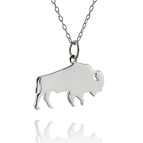 Buffalo Silhouette - Sterling Silver Buffalo Silhouette Pendant Necklace, 18