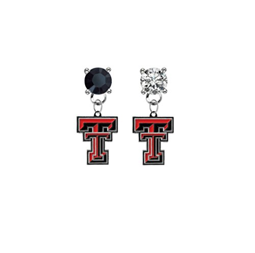 (Texas Tech Red Raiders Black & Clear Crystal Stud Post Dangle Earrings)