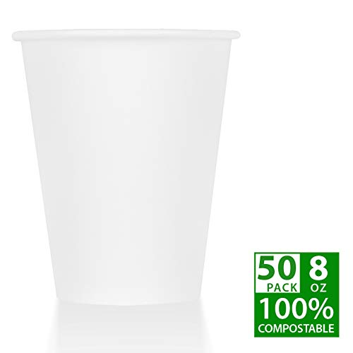 - ZenCo Biodegradable Compostable Disposable Cups - 50 Pack 8oz Hot/Cold Beverage Drinking Cup White - Eco Friendly Cups for Office, Catering, Picnics or Birthdays (50 Count, 8 Ounce)