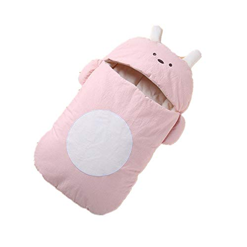 Newborn Baby Swaddle Blanket Wrap Thick Baby Kids Toddler Soft Warm Sleeping Bag(Pink 80cm)