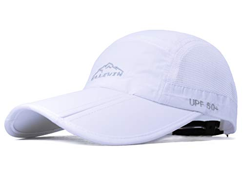 ELLEWIN Unisex Baseball Cap UPF 50 Unstructured Hat with Foldable Long Large Bill, A-white-ellewin Logo, M-L-XL