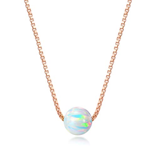Rose Gold over Sterling Silver 6mm Created Opal Necklace 16