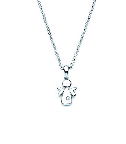 Little Diva Diamonds 925 Sterling Silver Children's Diamond Accent Angel Pendant Necklace, 16