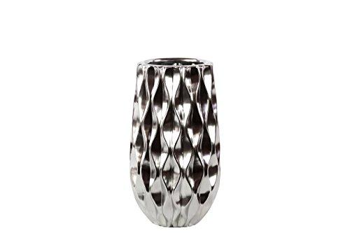 UTC11410 Ceramic Round Vase with Embossed Wave Design and Rounded Bottom SM Polished Chrome Finish Silver -