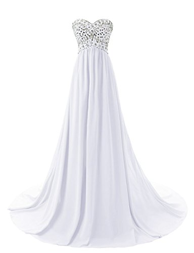 Fanciest Formal Beaded Women's White Evening Dresses Kleid 2016 Sweetheart Abendkleid pYfpEnrq