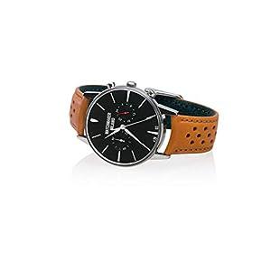 Watchmaker Milano – Reloj de Pulsera para Hombre, Estilo Vintage, de Acero, con cronógrafo y Correa de Piel Retro