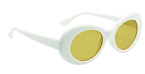 WebDeals - Oval Round Retro Sunglasses Color Tint or Smoke Lenses (White, - Sunglasses With Yellow Tint