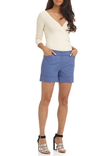 - Rekucci Women's Stretch Cotton Spandex Cuffed Perfect Chino Short (6,Perriwinkle)