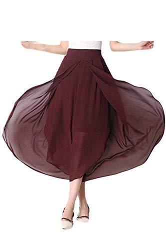 Elastica Stoffa Larghi Baggy Basic Eleganti Rosso Pantaloni Tendenza Lunga Donna Tempo Ragazza Gonna Libero Strato Estivi Chiffon Di Waist Irregular Vino High Doppio Dritti xavqzO4