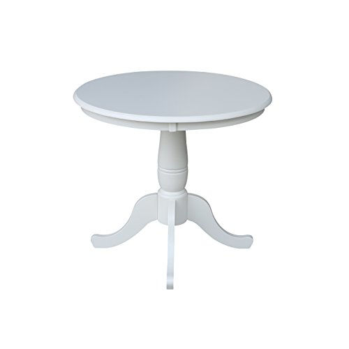 30 Inch Pedestal Dining Table - International Concepts 36-Inch Round by 30-Inch High Top Ped Table, Linen White