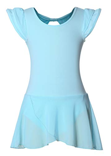 DANSHOW Girls' Ballet Dance Leotards with Flutter Sleeve Petal Skirt and Bowknot Back(6-8years,Light Blue) by DANSHOW