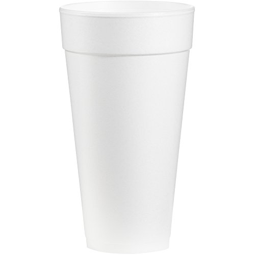 Dart 24J24 24 oz Tall Foam Cup, 24 Series Lids (Case of 500)