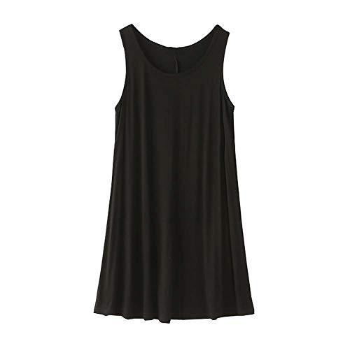 ラリー常に理想的には女性スリップドレスルーズノースリーブラウンジパジャマ XL(アジアのサイズ)、黒