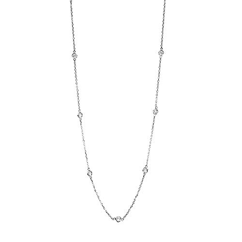 Handmade 18K White Gold Station Necklace with 0.70 Carats of Diamonds 16-18 Inches ()
