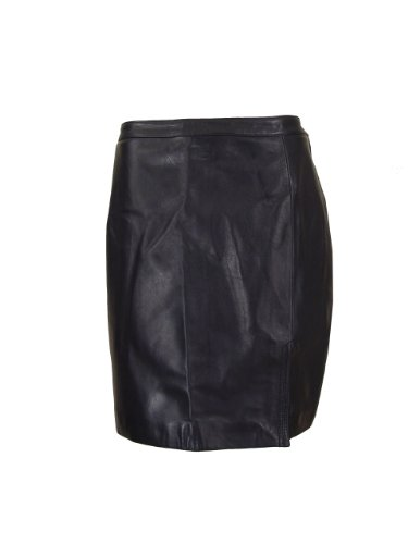 Paccilo Women 3004 Black Waisted Leather Skirt