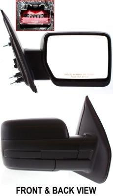 Kool Vue FD131ER Mirror Corner mount Type Passenger Side RH Plastic Textured Power Manual folding (2010 Ford F150 Passenger Mirror)