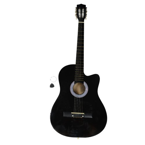 VIPITH 38 Inch Cutaway Acoustic Guitars with Guitar Plectrum Black