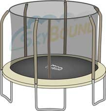 Replacement Net for 14ft Trampoline Enclosure using 6 Angled-Poles and Sleeves (Enclosure Poles Not Included)