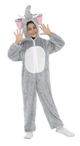 Smiffys Children's Unisex All In One Elephant Costume, Jumpsuit with Tail and Trunk, Party Animals, Ages 7-9, Color: Grey, 30020