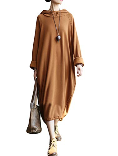 Mordenmiss Women's New Cowl Neck Long Sleeve Sweartshirt Dress (L, Style 1-Caramel) ()