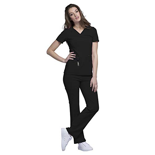 Cherokee iFlex Womens Medical Uniforms Scrub Set Bundle- CK605 V-Neck Knit Panel Top & CK002 Pull-on Mid Rise Cargo Pants & Marc Stevens Badge Reel (Black - Medium/Medium)