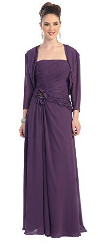 MOB Mother of the Bride Formal Evening Dress #984 (Medium, Eggplant)