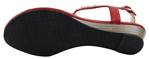 Cambridge Select Womens T-Strap Slingback Studded Crystal Rhinestone Thong Low Wedge Sandal Red mHiyU